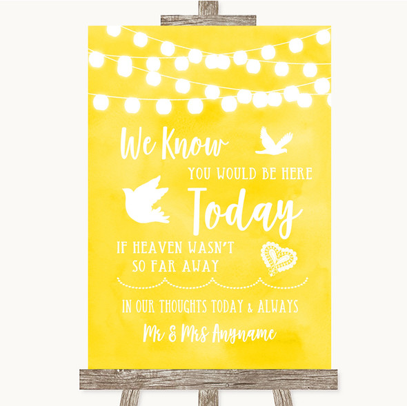 Yellow Watercolour Lights Loved Ones In Heaven Personalised Wedding Sign