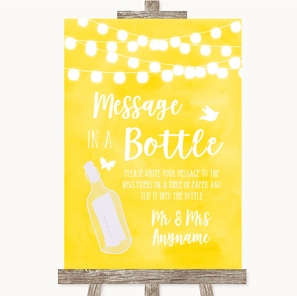 Yellow Watercolour Lights Message In A Bottle Personalised Wedding Sign