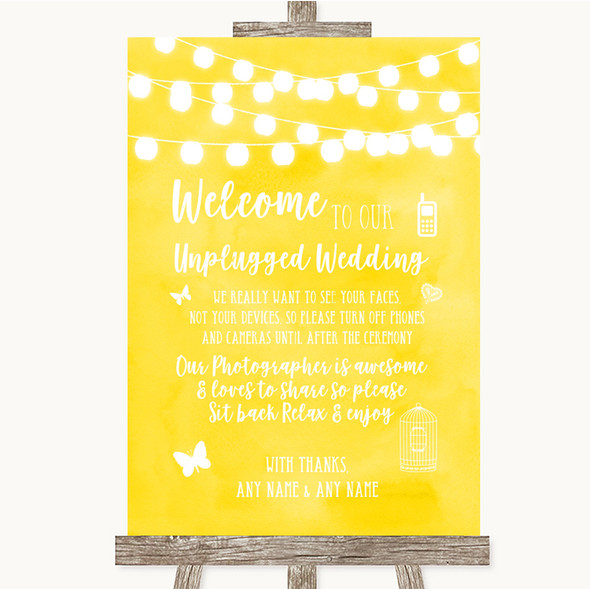 Yellow Watercolour Lights No Phone Camera Unplugged Personalised Wedding Sign
