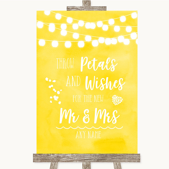 Yellow Watercolour Lights Petals Wishes Confetti Personalised Wedding Sign