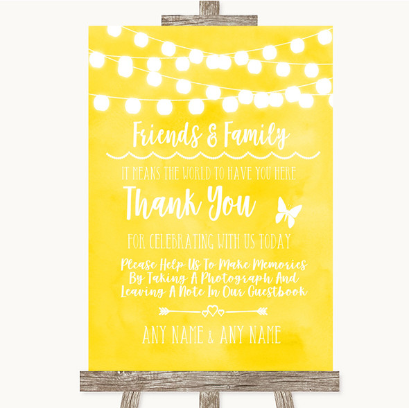 Yellow Watercolour Lights Photo Guestbook Friends & Family Wedding Sign