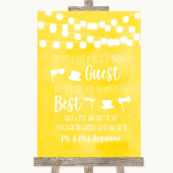 Yellow Watercolour Lights Photo Prop Guestbook Personalised Wedding Sign