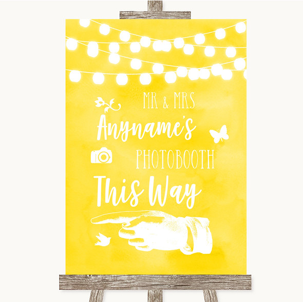 Yellow Watercolour Lights Photobooth This Way Left Personalised Wedding Sign