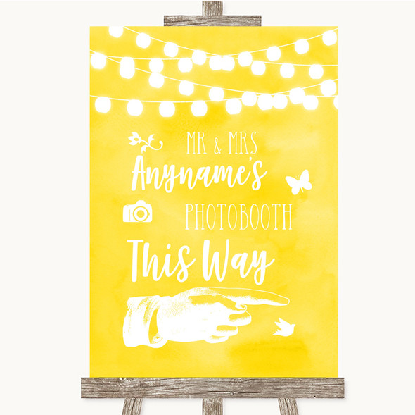 Yellow Watercolour Lights Photobooth This Way Right Personalised Wedding Sign
