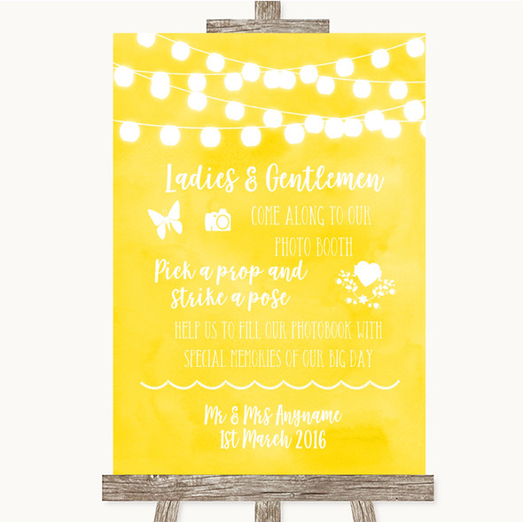 Yellow Watercolour Lights Pick A Prop Photobooth Personalised Wedding Sign