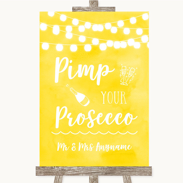Yellow Watercolour Lights Pimp Your Prosecco Personalised Wedding Sign