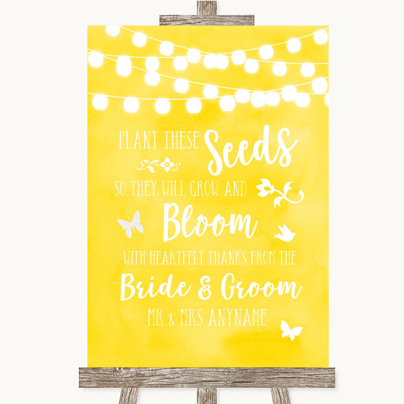Yellow Watercolour Lights Plant Seeds Favours Personalised Wedding Sign