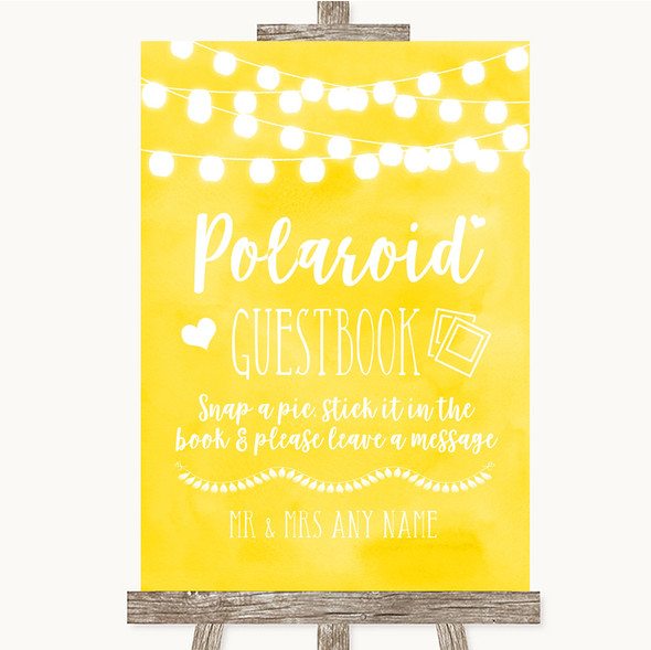 Yellow Watercolour Lights Polaroid Guestbook Personalised Wedding Sign