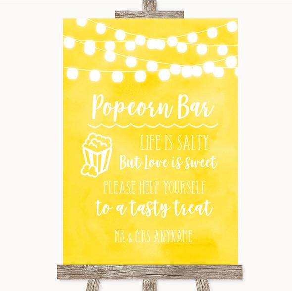 Yellow Watercolour Lights Popcorn Bar Personalised Wedding Sign