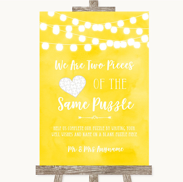 Yellow Watercolour Lights Puzzle Piece Guest Book Personalised Wedding Sign