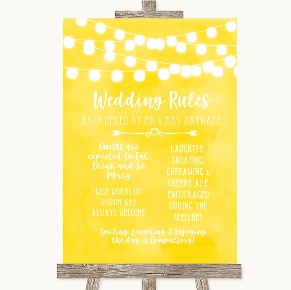 Yellow Watercolour Lights Rules Of The Wedding Personalised Wedding Sign