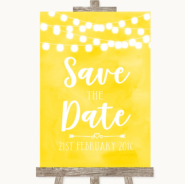 Yellow Watercolour Lights Save The Date Personalised Wedding Sign