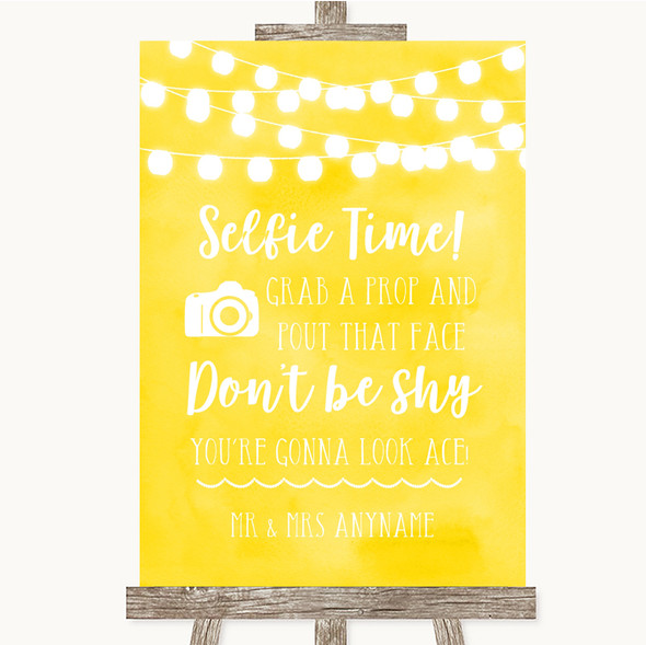 Yellow Watercolour Lights Selfie Photo Prop Personalised Wedding Sign