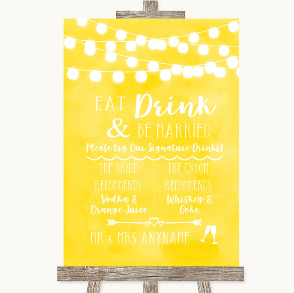 Yellow Watercolour Lights Signature Favourite Drinks Personalised Wedding Sign