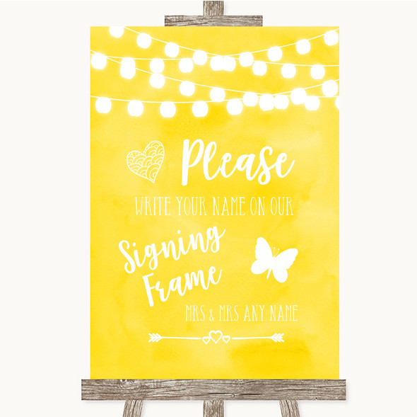 Yellow Watercolour Lights Signing Frame Guestbook Personalised Wedding Sign