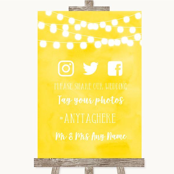 Yellow Watercolour Lights Social Media Hashtag Photos Personalised Wedding Sign