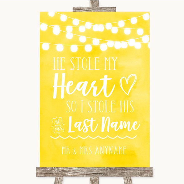 Yellow Watercolour Lights Stole Last Name Personalised Wedding Sign