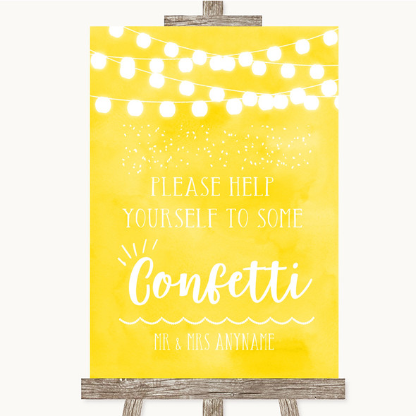 Yellow Watercolour Lights Take Some Confetti Personalised Wedding Sign
