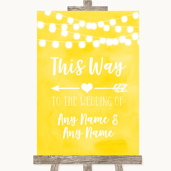 Yellow Watercolour Lights This Way Arrow Left Personalised Wedding Sign