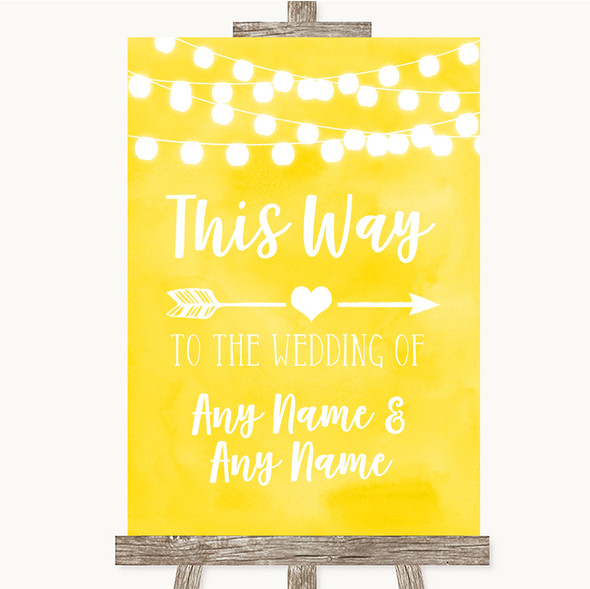 Yellow Watercolour Lights This Way Arrow Right Personalised Wedding Sign