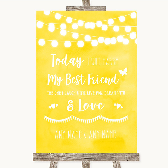 Yellow Watercolour Lights Today I Marry My Best Friend Personalised Wedding Sign