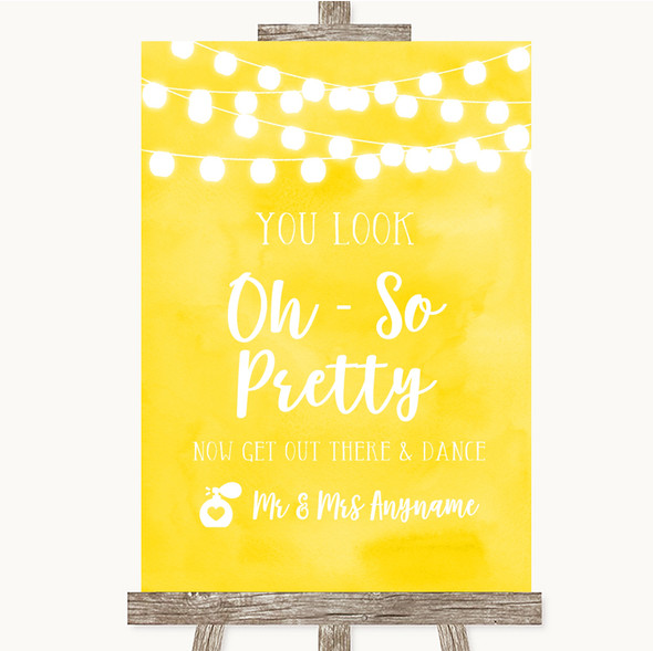 Yellow Watercolour Lights Toilet Get Out & Dance Personalised Wedding Sign