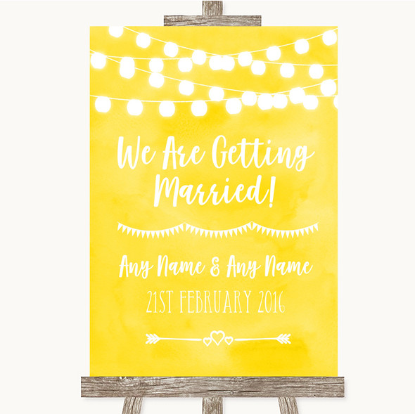 Yellow Watercolour Lights We Are Getting Married Personalised Wedding Sign