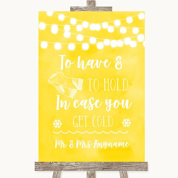 Yellow Watercolour Lights Wedding Blanket Scarf Personalised Wedding Sign