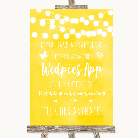 Yellow Watercolour Lights Wedpics App Photos Personalised Wedding Sign