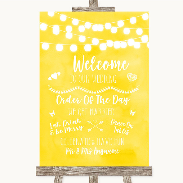 Yellow Watercolour Lights Welcome Order Of The Day Personalised Wedding Sign