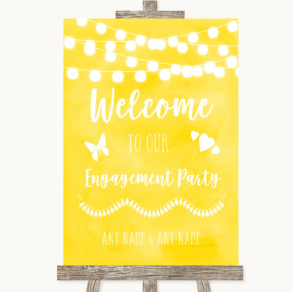 Yellow Watercolour Lights Welcome To Our Engagement Party Wedding Sign