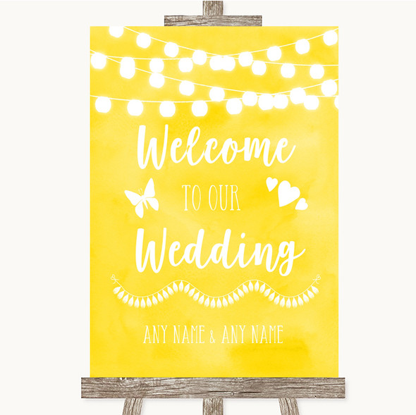 Yellow Watercolour Lights Welcome To Our Wedding Personalised Wedding Sign