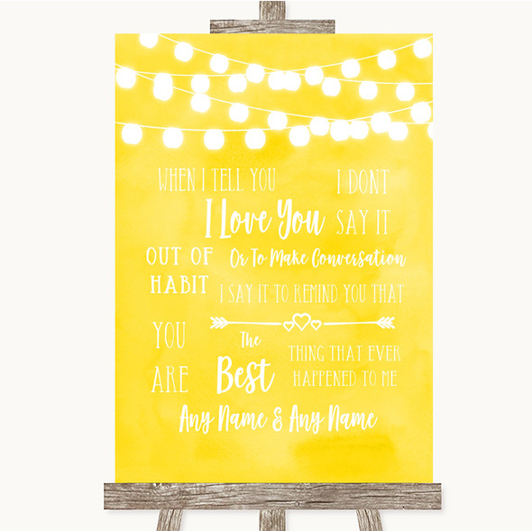 Yellow Watercolour Lights When I Tell You I Love You Personalised Wedding Sign