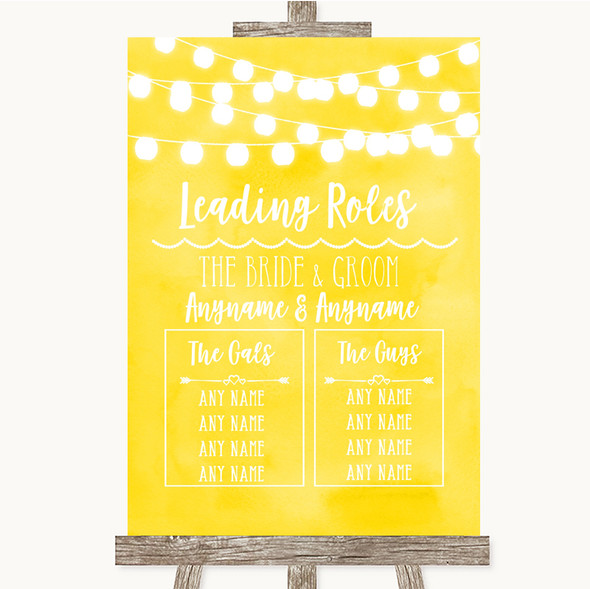 Yellow Watercolour Lights Who's Who Leading Roles Personalised Wedding Sign