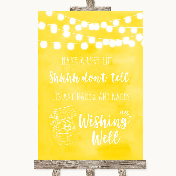 Yellow Watercolour Lights Wishing Well Message Personalised Wedding Sign