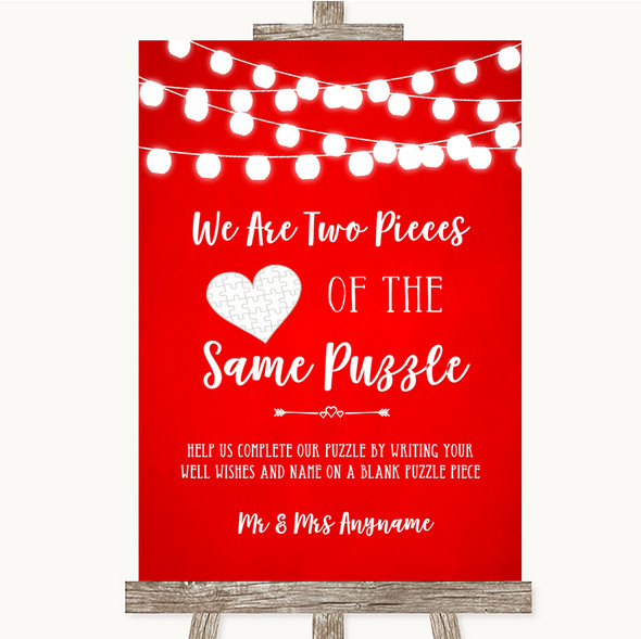 Red Watercolour Lights Puzzle Piece Guest Book Personalised Wedding Sign
