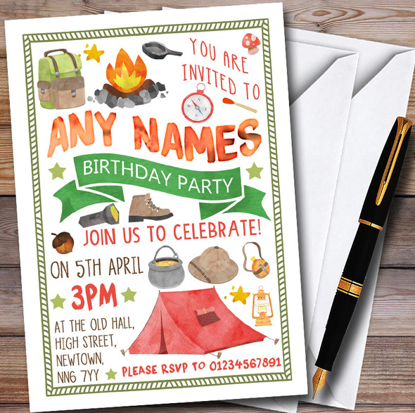 Camping Bonfire Personalised Childrens Party Invitations