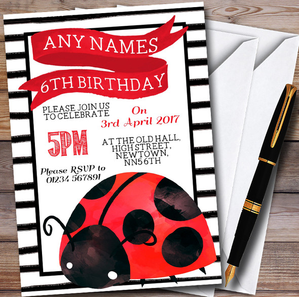 Cute Ladybird Ladybug Personalised Childrens Party Invitations