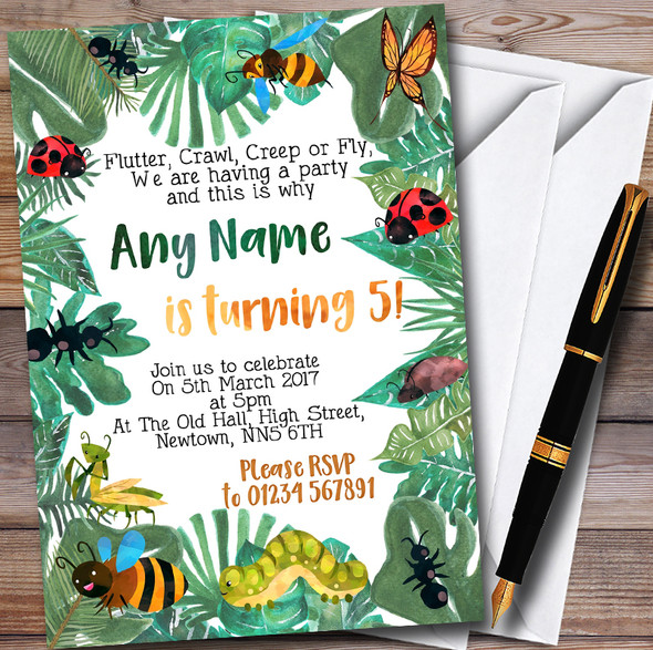 Leaves Bugs And Insects Personalised Childrens Party Invitations