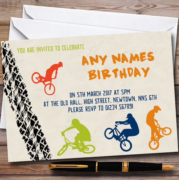 Tyre Track BMX Bike Cycling Personalised Childrens Party Invitations