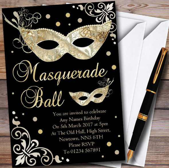 Gold & Black Masquerade Ball Personalised Party Invitations