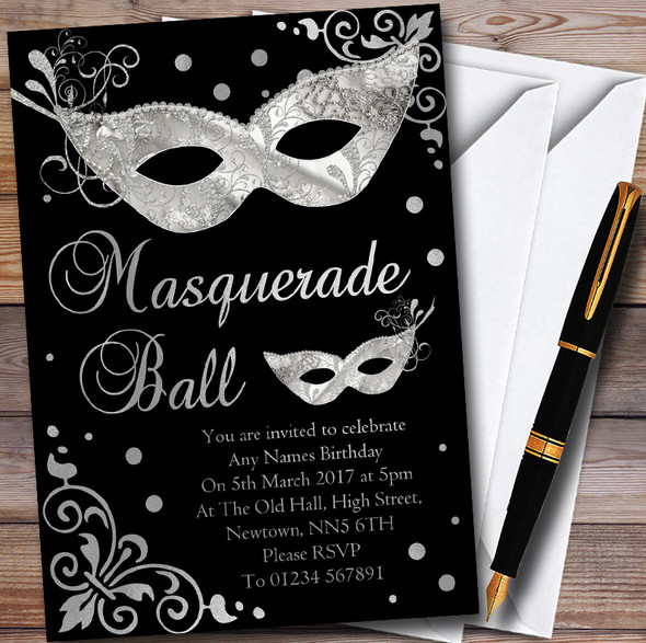 Silver & Black Masquerade Ball Personalised Party Invitations
