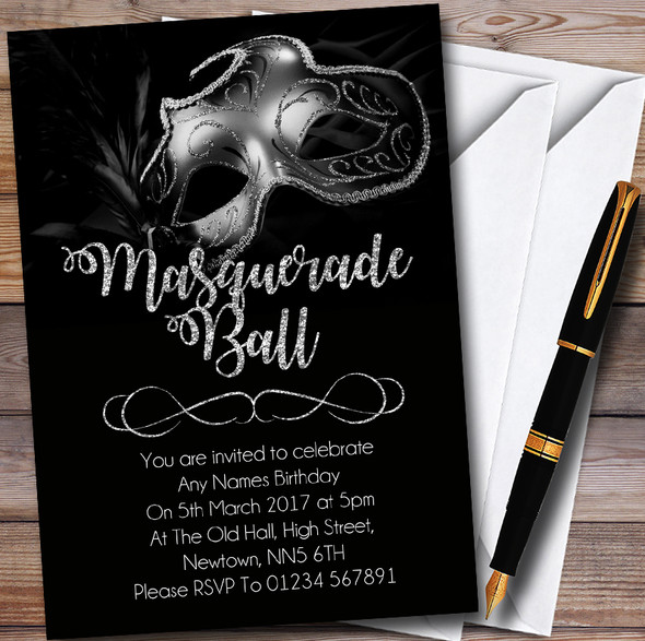 Silver Glitter Mask Masquerade Ball Personalised Party Invitations