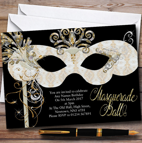 White & Gold Masquerade Ball Personalised Party Invitations