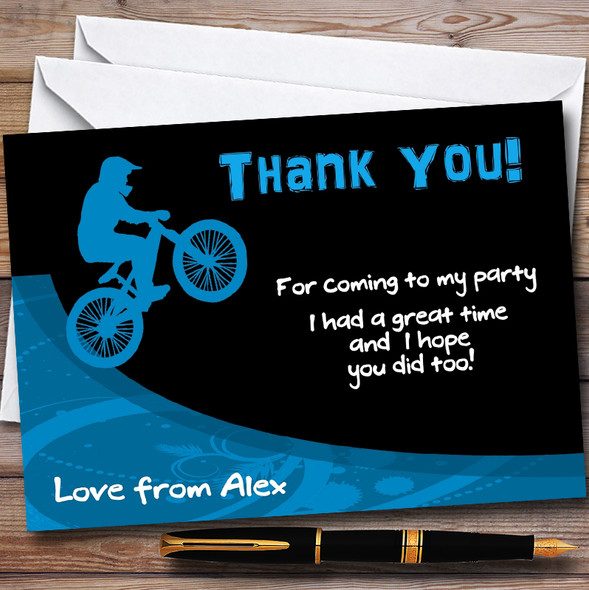 Blue BMX Bike Personalised Party Thank You Cards