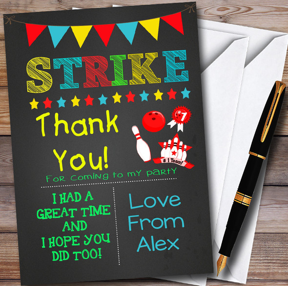 Boys Bowling Chalk Personalised Party Thank You Cards