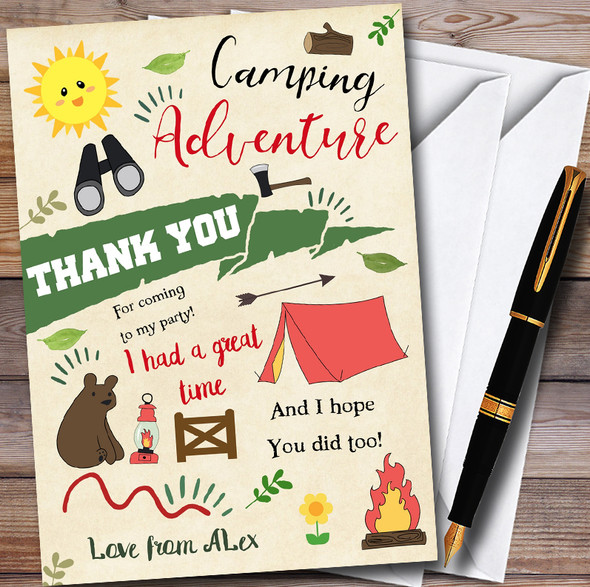 Camping Adventure Personalised Party Thank You Cards