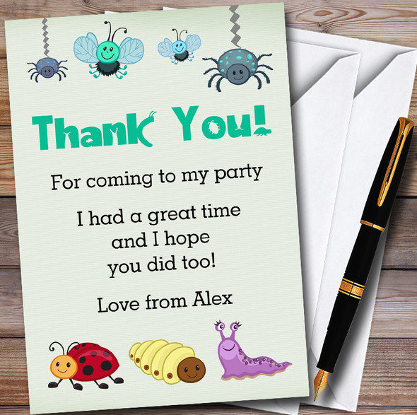 Cute Bugs Personalised Party Thank You Cards