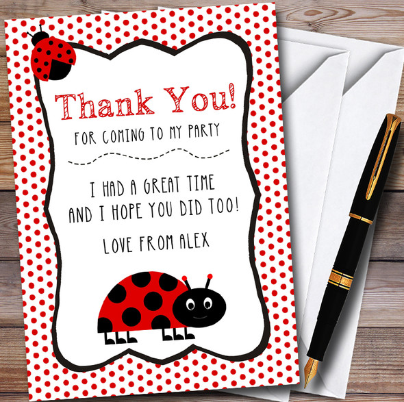 Polkadot Ladybird Personalised Party Thank You Cards