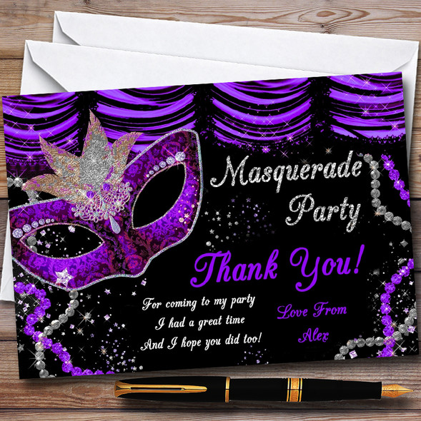 Purple & Black Mask Masquerade Ball Personalised Party Thank You Cards